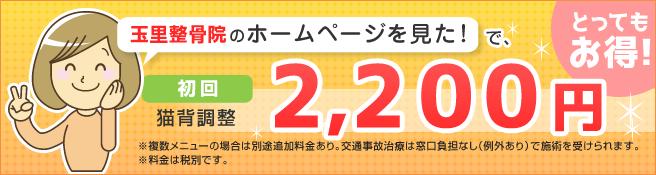 玉里整骨院のホームページを見た!で、猫背調整初回2,200円!